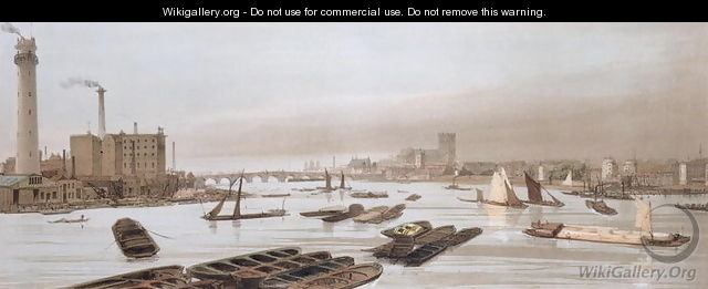 Westminster from Waterloo Bridge, incorporating the Shot Tower, 1842 - Thomas Shotter Boys