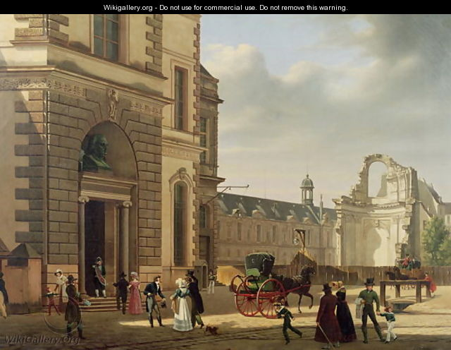 The entrance to the musee de louvre and st louis church 1822 etienne bouh - Musee design st etienne ...