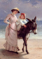 Mother and child promenading on a beach with a donkey - Jane Maria Bowkett