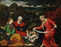 Rest on the Flight into Egypt with St. John the Baptist, St. Elizabeth and St. Catherine c.1545 - Paris Bordone