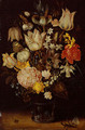Still life of a bouquet of flowers including variegated tulips, bluebells, forget-me-nots and lily-of-the-valley (1) - Ambrosius the Elder Bosschaert