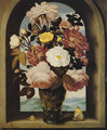 A still life of roses in a berkemeijer glass, with butterflies and a snail, in an arched stone window with a landscape beyond - Ambrosius the Elder Bosschaert