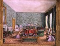The Drawing Room at Meesdenbury, f13 from An Album of Interiors, 1843 - Charlotte Bosanquet