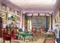 Library, Vinters, f.16 from an 'Album of Interiors' 1843 - Charlotte Bosanquet