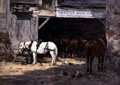 Horses for Hire in a Yard c.1885-90 - Eugène Boudin