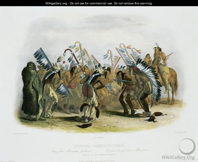 Ischoha-Kakoschochata, Dance of the Mandan Indians, plate 25 from volume 1 of `Travels in the Interior of North America