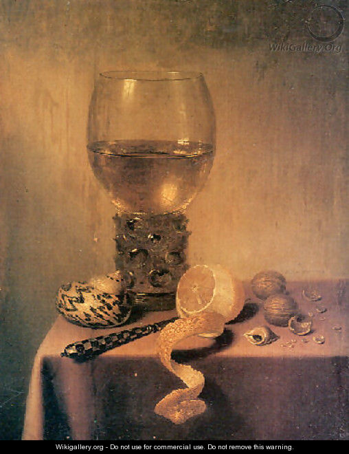 A roemer, two shells, a peeledlemon, a knife and walnuts on a Draped Table - Maerten Boelema De Stomme