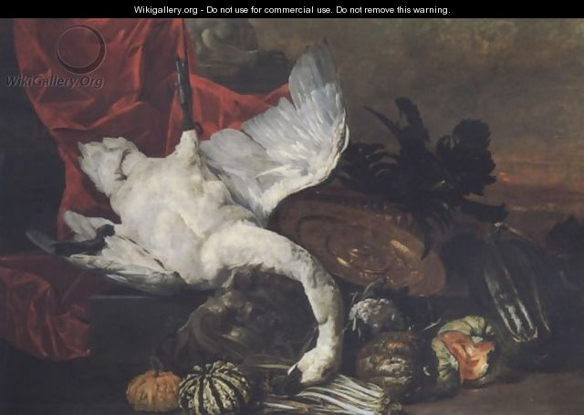 Elaborate still life with fruits, vegetables, a salver and a swan before a draped pedestal, a landscape beyond - Peeter Boel