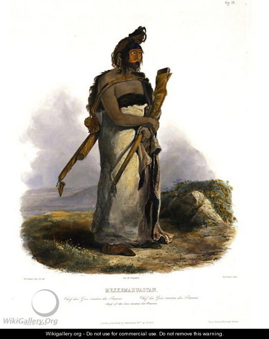 Mexkemahuastan, Chief of the Gros-Ventres of the Prairies, plate 20 from Volume 1 of