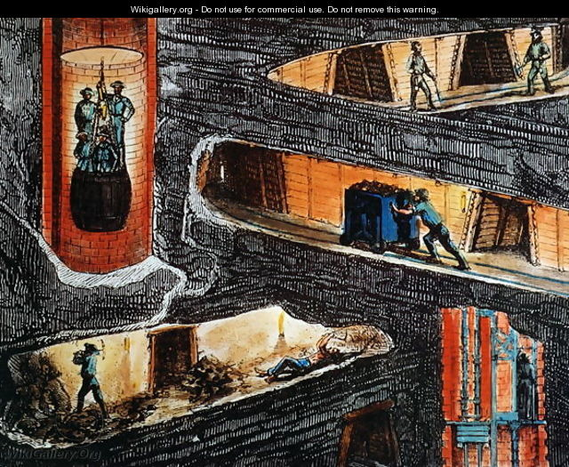 Cross-section of a Coal Mine - Ignace Francois Bonhomme