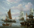 Estuary Scene with Boats and Fisherman - Johannes de Blaauw