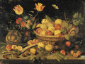 Plums and redcurrants in a basket, tulips, poppies and other flowers in a vase, with a gourd, peas, a parsnip and other fruit on a stone ledge 1632 - Peter Paul Binoit