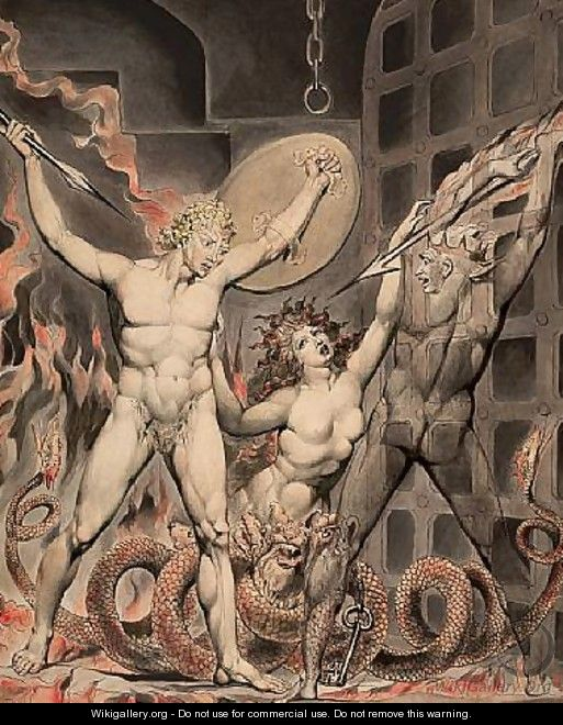 Satan, Sin, and Death- Satan Comes to the Gates of Hell - William Blake