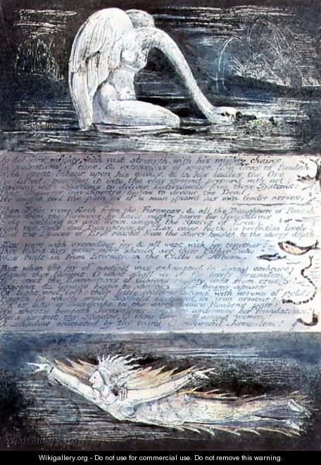 Plate II, Jerusalem, c.1804-20. The daughters of Albion represented by swan-like and fish-like creatures - William Blake