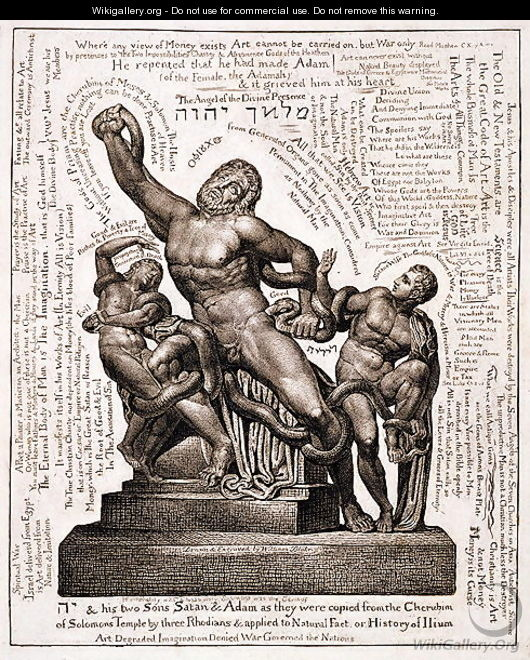 The Laocoon as Jehovah with Satan and Adam, c.1820 - William Blake