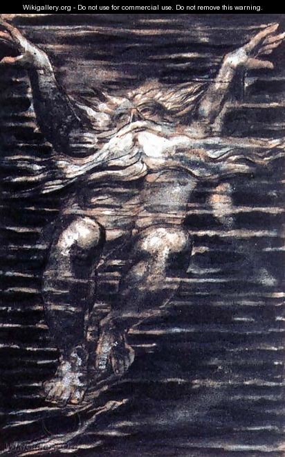 The First Book of Urizen- Bearded man swimming through water, 1794 - William Blake