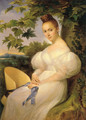Portrait of a lady, seated in a landscape, in a white dress holding a straw hat 1830 - Merry Joseph Blondel