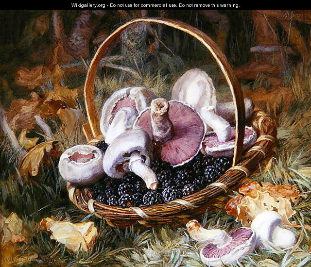 A Basket of Wild Mushrooms and Blackberries - Jabez Bligh