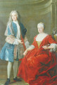 Portrait of a noble lady and young man, Probably the Duchess of Lorraine and her son 1722 - Alexis-Simon Belle