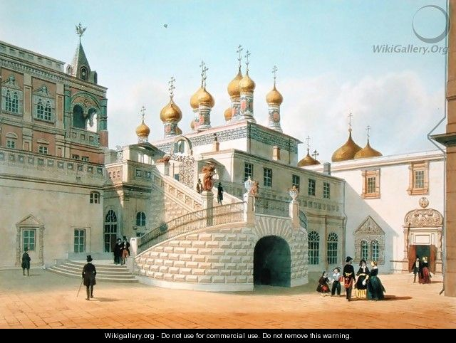 View of the Boyar Palace in the Moscow Kremlin 1840s - Felix Benoist