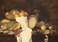 Still life of melons, grapes, oysters, crab and lemons on pewter plates, with a basket of fruit, wineglasses and a gilt cup - Andries Benedetti