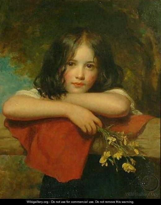 Portrait of a young girl leaning on a stone ledge - Charles Baxter