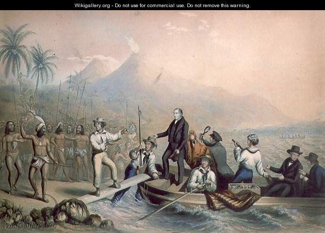 The Return of the Rev. John Williams at Tanna in the South Seas, the day before he was massacred - George Baxter