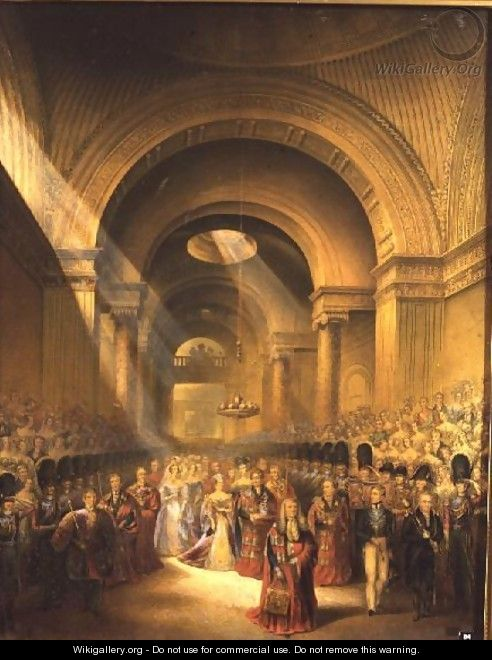 The Arrival of Her Most Gracious Majesty Queen Victoria at the House of Lords to Open Her First Parliament - George Baxter