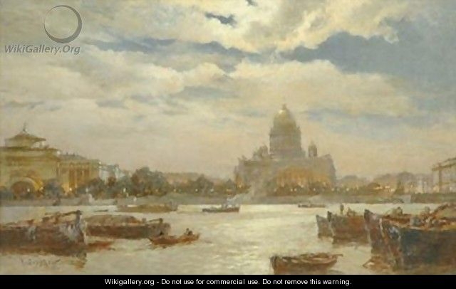 View of Saint Petersburg in twilight 1911 - Aleksandr Karlovich Beggrov