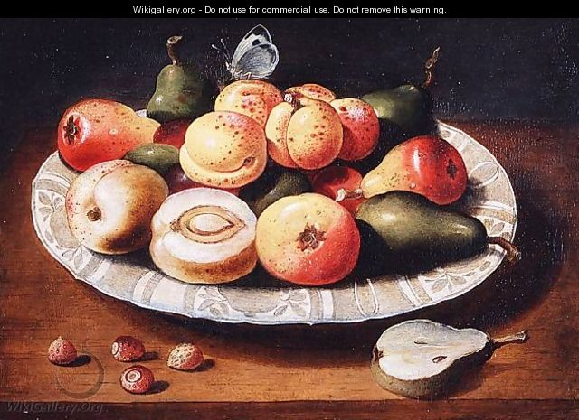 Still life of fruit in a Wan-Li porcelain dish - Osias, the Elder Beert