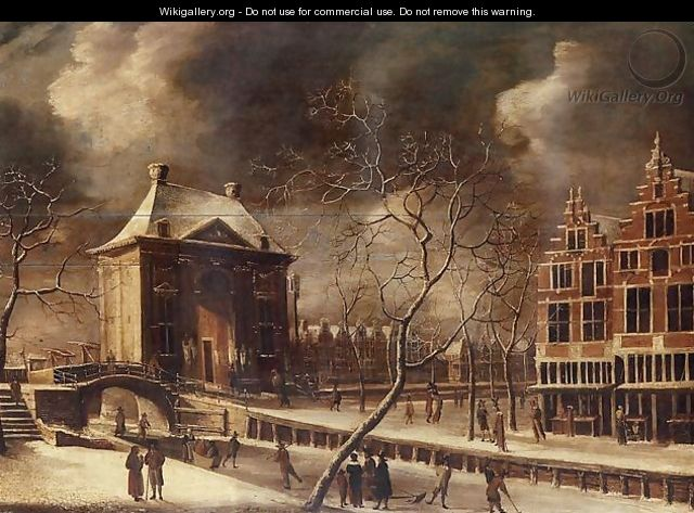 The Heiligewegspoort, Amsterdam, from the north-east in winter, with skaters on the frozen canal 1662-64 - Abraham Beerstraten