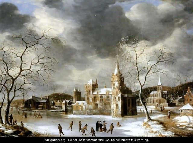 A castle on a frozen lake with skaters - Abraham Beerstraten