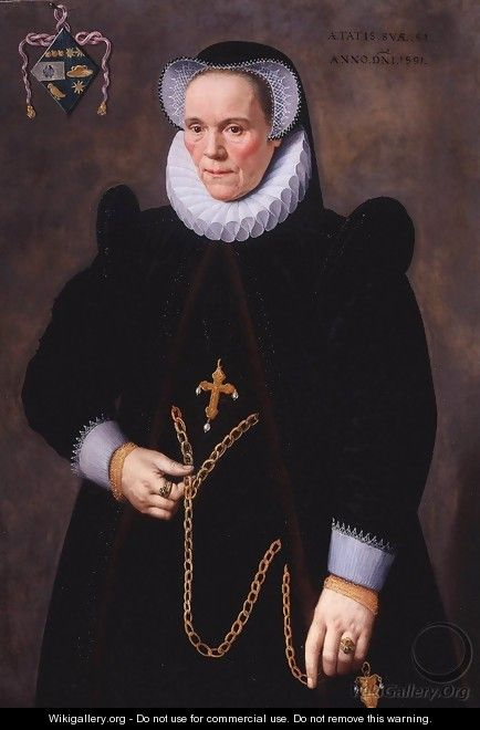 Portrait of Catherine van Damme, Wife of Francois de Groote 1591 - Frans, the Younger Pourbus