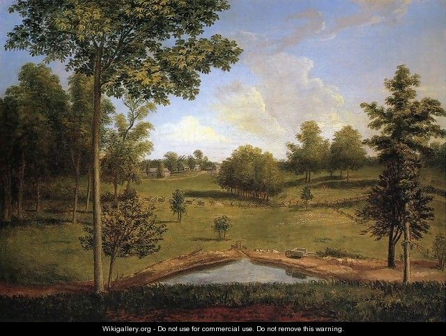Landscape Looking Towards Sellers Hall from Mill Bank 1818 - Charles Willson Peale