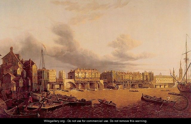View of Old London Bridge as it was in 1747 - John Paul