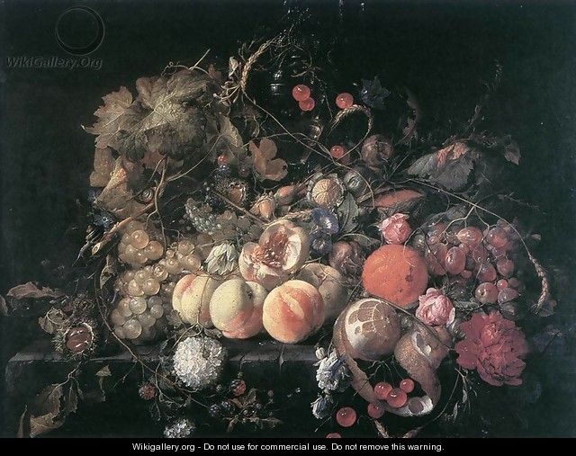Still-Life with Flowers and Fruit - Cornelis De Heem