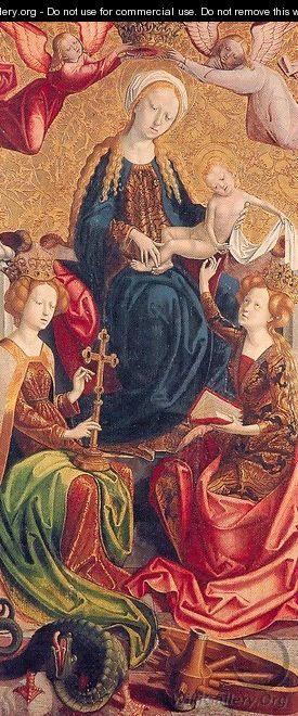 The Virgin and Child with Saints Margaret and Catherine 1500 - Follower of Michael Pacher