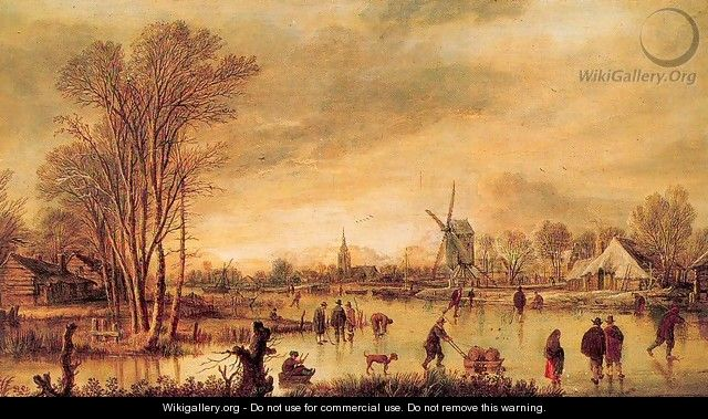 A River in Winter - Aert van der Neer
