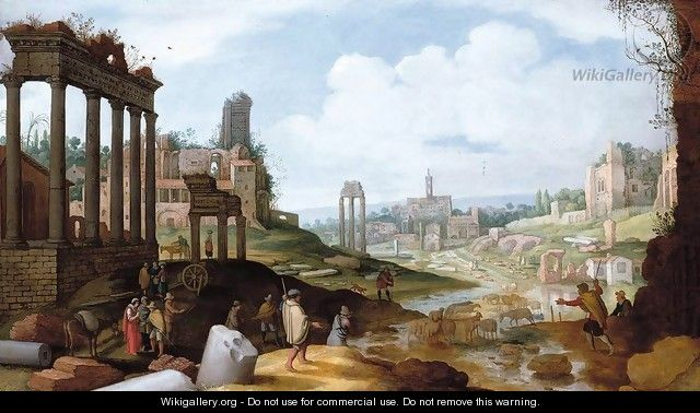 View of the Forum Romanum - Willem van, the Younger Nieulandt