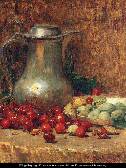 Still Life- Pewter Pitcher and Cherries 1890-1902 - Willie Betty Newman