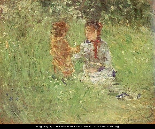 Woman and Child in the Garden at Bougival 1882 - Berthe Morisot