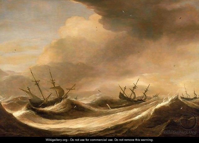 Ships in a Heavy Sea Running Before a Storm c. 1640 - Pieter the Elder Mulier
