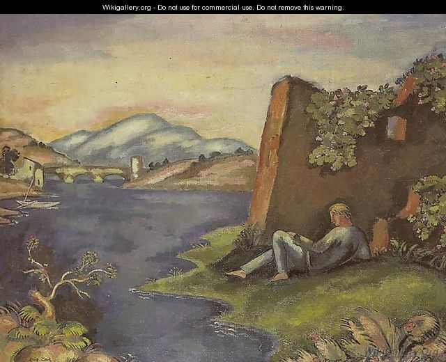 Idyll - Landscape with a Reclining Man - Eugene Zak