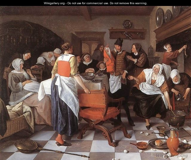 Celebrating the Birth 1664 - Jan Steen