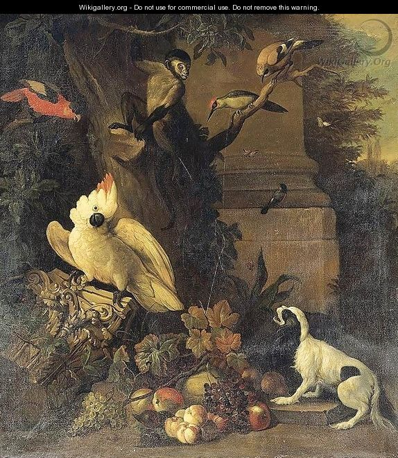 A Monkey, a Dog and Various Birds in a Landscape - Tobias Stranover