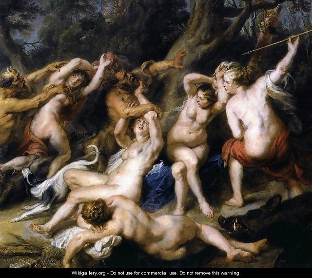 Diana and her Nymphs Surprised by the Fauns (detail-2) 1638-40 - Peter Paul Rubens
