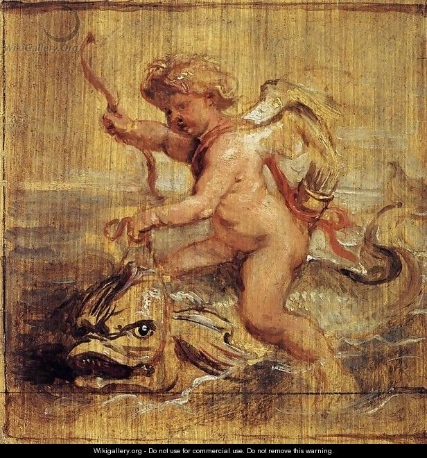 Cupid Riding a Dolphin 1636 - Peter Paul Rubens