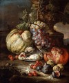 Still-Life with Fruit and Dead Birds in a Landscape - Giovanni Battista Ruoppolo