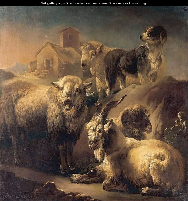A Goat, Sheep and a Dog Resting in a Landscape - Philipp Peter Roos
