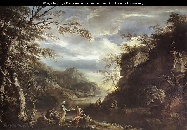 River Landscape with Apollo and the Cumean Sibyl c. 1655 - Salvator Rosa